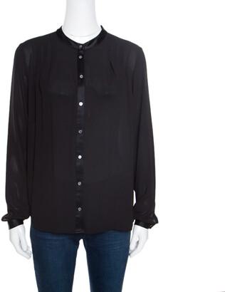 Elizabeth and James Black Crepe Satin Trim Detail Long Sleeve Blouse S