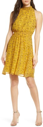 Sam Edelman High Neck Smocked Waist Dress