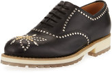 Valentino Studded Leather Oxford, Black