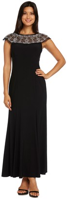 R & M Richards R&M Richards Maxi Gown with Sheer, Beaded Cap Sleeves