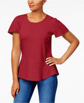 Style&Co. Style & Co Cotton Jacquard Peplum Top, Created for Macy's