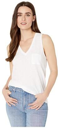 Madewell Whisper Cotton V-Neck Pocket Tank (Heather Mercury) Women's Clothing
