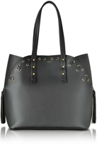 Furla Black Leather Aurora Medium Tote Bag