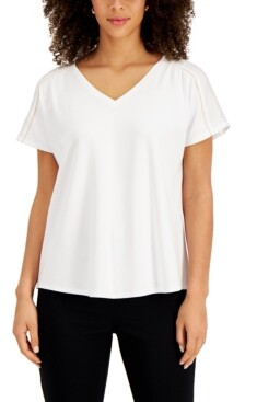 JM Collection Satin-Trim Top, Created for Macy's