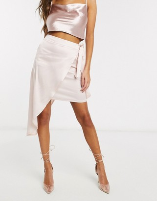 Club L London Club L assymmetric wrap satin skirt