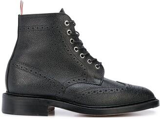 Thom Browne Wingtip Boot In Black Pebble Grain