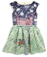 Halabaloo Toddler's & Little Girl's Castle Sketch Fit & Flare Dress