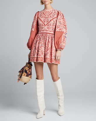 Ulla Johnson Omaira Embroidered Blouson-Sleeve Short Dress