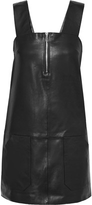BA&SH Ludivine Zip-detailed Textured-leather Mini Dress