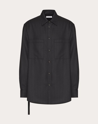 Valentino Long-sleeved Wool Shirt With Open Side And Tie Man Black Wool 100% 38