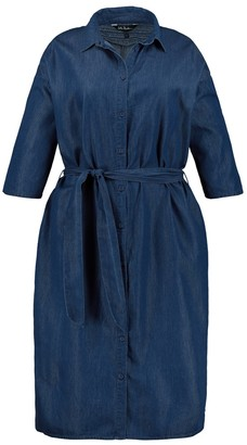 Ulla Popken Denim Shirt Dress with Tie-Waist