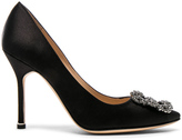 Manolo Blahnik Hangisi 105 Satin Pumps in Black.