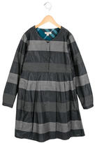 Burberry Girls' Striped Pleat-Accented Dress