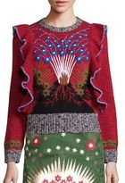 Valentino Wool & Cashmere Embroidered Ruffle-Detail Sweater