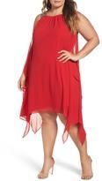 Xscape Evenings Embellished Handkerchief Hem Trapeze Dress (Plus Size)