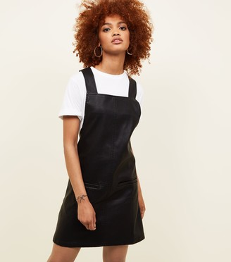 New Look Leather-Look Pinafore Dress