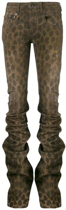 R 13 Leopard Print Gathered Skinny Trousers