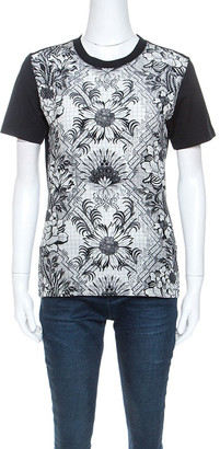 Louis Vuitton Black Printed Silk Crew Neck T-Shirt S