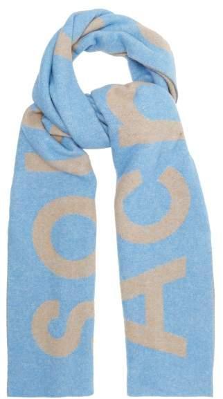 Acne Studios Toronto Large Bi Colour Wool Scarf - Womens - Blue Beige