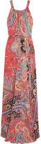 Etro Printed Silk Crepe De Chine Maxi Dress - Coral
