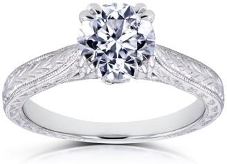 Annello by Kobelli 14k White Gold 1 Carat Round Brilliant Diamond Antique Engravings Engagement Ring