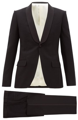 Gucci Grosgrain-trim Wool-blend Twill Tuxedo Suit - Mens - Black