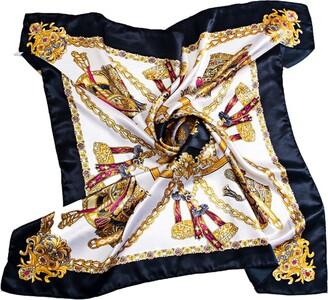 Pu Ran Women's Neckerchief Large Square Scarf Headdress 35 x 35 inches - Black