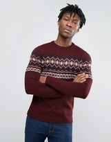 Pull&bear Fairisle Jumper In Burgundy