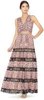 Alice + Olivia Hetty Smocked Gathered Flowy Maxi Skirt