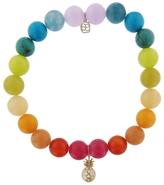 Sydney Evan Pavé Pineapple Charm on Rainbow Beaded Bracelet