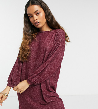 ASOS DESIGN Petite long balloon sleeve mini dress in super soft berry