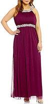 Jodi Kristopher Plus High Neck Beaded Trim Long Dress