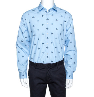 Gucci Blue Bee & Star Print Cotton Long Sleeve Duke Shirt L