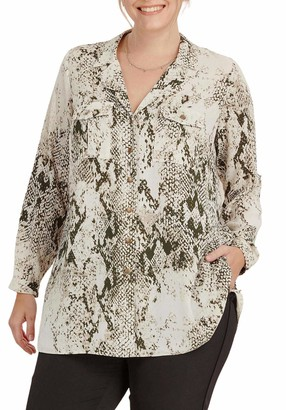 Ex Evans Evans Ladies Plus Size Ivory Green Mix Snakeskin Print Silky Shirt Size 24