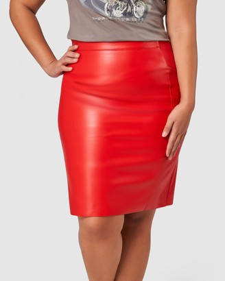 Sunday In The City - Women's Red Leather skirts - Red Alert PU Skirt - Size One Size, 12 at The Iconic