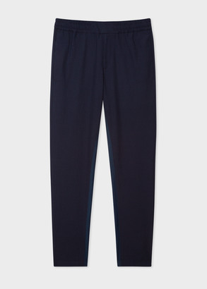 Paul Smith Men's Navy Seersucker Wool And Cotton-Blend Drawstring Pants
