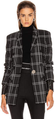 Alexander Wang Peaked Lapel Blazer with Leather Sleeves in Black & White Windowpane | FWRD