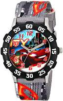 Disney Kids' W001591 Tween Cars Lightning McQueen Stainless Steel Watch, Printed Nylon Band