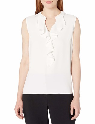 Nine West Women's Sleeveless Ruffle Front Light Weight Crepe Blouse