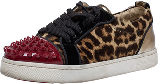 Christian Louboutin Multicolor Leopard Print Pony Hair And Patent Leather Louis Junior Spikes Sneakers Size 37.5