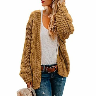Sanfo Womens Open Front Long Sleeve Chunky Knit Cardigan Sweater S-XL Yellow