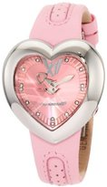Chronotech Women's CT.7688L/03 Heart Shape Light Pink Leather Watch