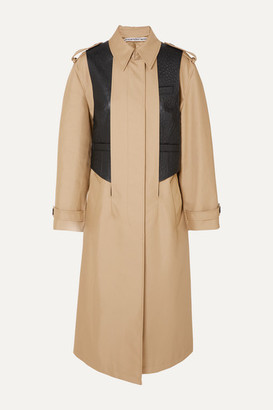 Alexander Wang Layered Cotton-blend Gabardine And Ostrich-effect Leather Trench Coat - Beige