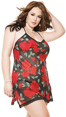Coquette Women's Plus-Size Rose Print Chemise