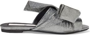 N°21 N21 Knotted Metallic Cracked-leather Slides