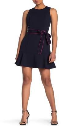 Eliza J Belted Ruffle Hem Dress (Petite)