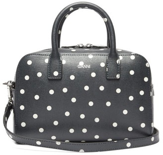 Ganni Polka-dot Leather Cross-body Bag - Navy White