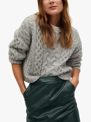 MANGO Faux Leather Pencil Knee Length Skirt