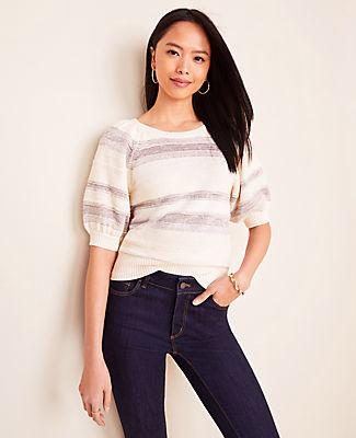 Ann Taylor Petite Shimmer Stripe Puff Sleeve Sweater