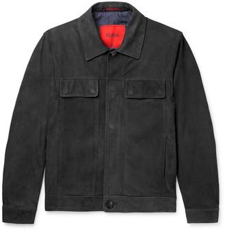Isaia Slim-Fit Suede Trucker Jacket